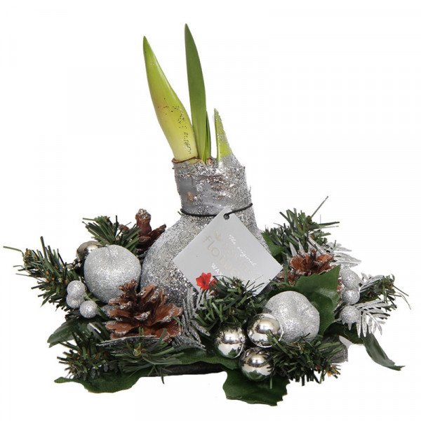 Wax Amaryllis Christmas wreath Silver