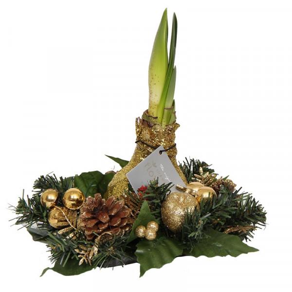 Wax Amaryllis Christmas wreath Gold